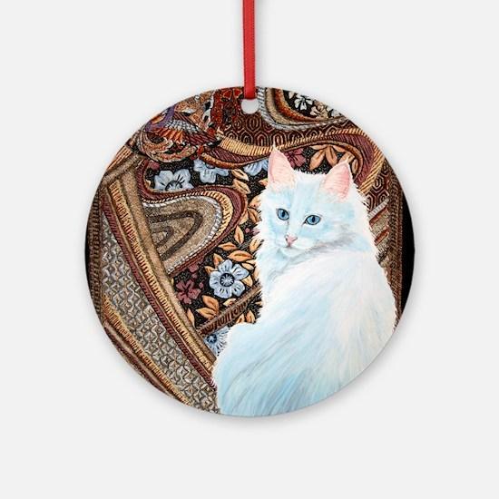 White Turkish Angora Ornament (Round)
