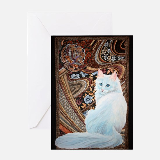 White Turkish Angora Greeting Card