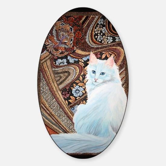 White Turkish Angora Sticker (Oval)