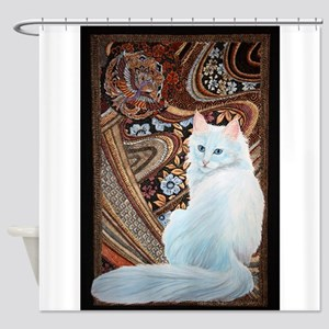 White Turkish Angora Shower Curtain