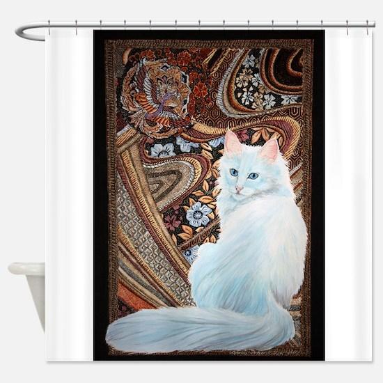 White Turkish Angora Shower Curtain