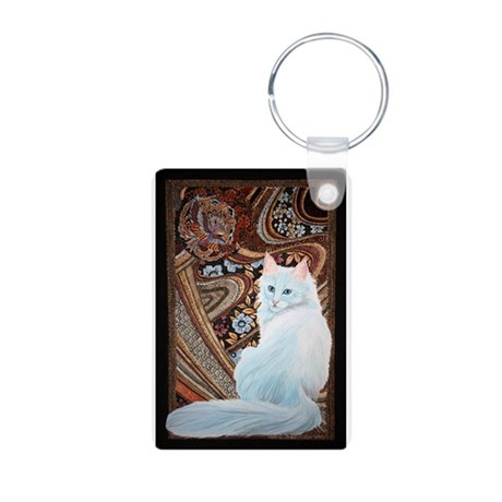 White Turkish Angora Aluminum Photo Keychain