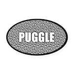 Silver Puggle Oval Car Magnet