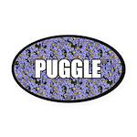 Floral Puggle Oval Car Magnet