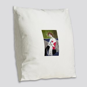Hot pink Burlap Throw Pillow