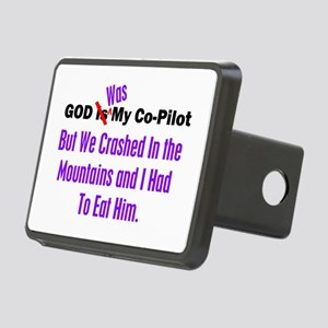 God was my co-pilot purple Rectangular Hitch Cover