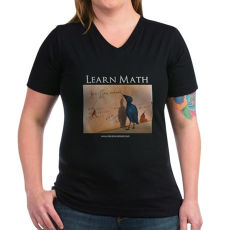 Learn Math - Women's V-Neck Dark T-Shirt