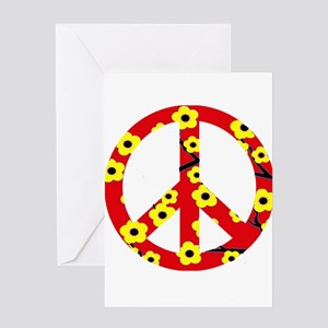 Peace Sign Red Yellow Cherry Blossom Greeting