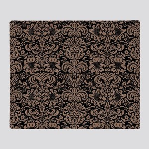 DAMASK2 BLACK MARBLE & BROWN COLORED Throw Blanket