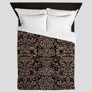 DAMASK2 BLACK MARBLE & BROWN COLORED P Queen Duvet