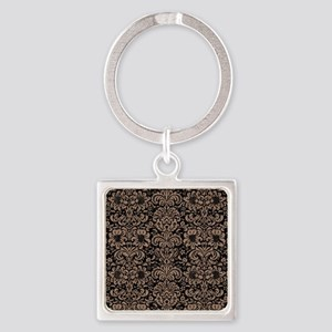 DAMASK2 BLACK MARBLE & BROWN COLOR Square Keychain