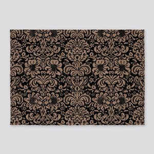 DAMASK2 BLACK MARBLE & BROWN COLORE 5'x7'Area Rug
