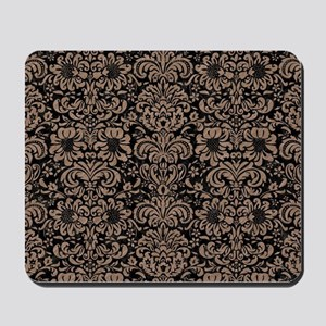 DAMASK2 BLACK MARBLE & BROWN COLORED PEN Mousepad