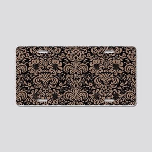 DAMASK2 BLACK MARBLE & BROW Aluminum License Plate