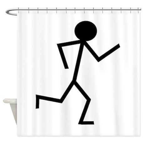 Running Stickman.png Shower Curtain