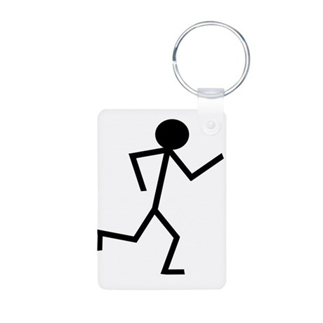 Running Stickman.png Aluminum Photo Keychain