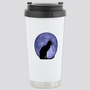 Black Cat, Blue Moon Stainless Steel Travel Mug