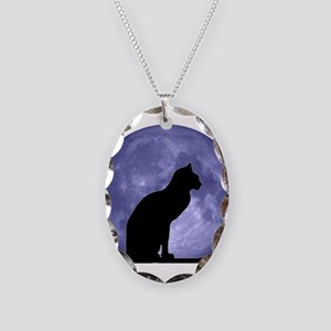 Black Cat, Blue Moon Necklace Oval Charm