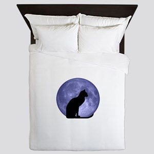 Black Cat, Blue Moon Queen Duvet