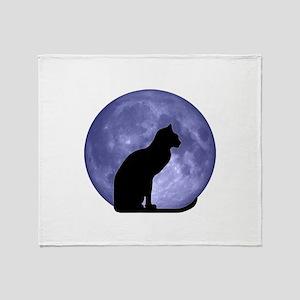 Black Cat, Blue Moon Throw Blanket