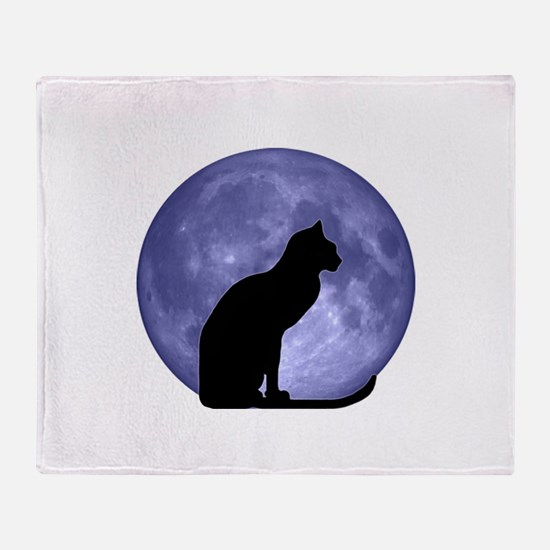 Black Cat, Blue Moon Throw Blanket
