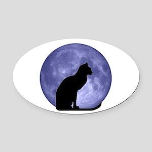Black Cat, Blue Moon Oval Car Magnet