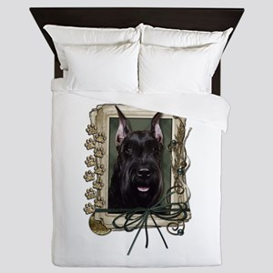 Fathers Day Stone Paws Schnauzer Queen Duvet