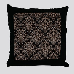 DAMASK1 BLACK MARBLE & BROWN COLORED Throw Pillow