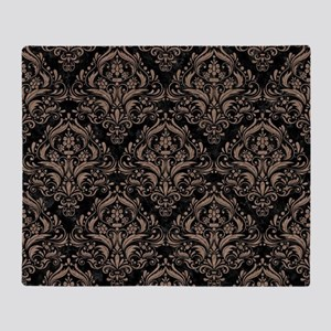 DAMASK1 BLACK MARBLE & BROWN COLORED Throw Blanket