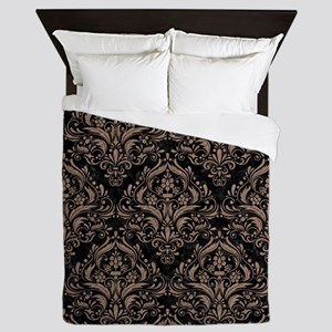 DAMASK1 BLACK MARBLE & BROWN COLORED P Queen Duvet