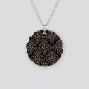 DAMASK1 BLACK MARBLE & BROWN Necklace Circle Charm