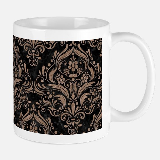 DAMASK1 BLACK MARBLE & BROWN COL Mug