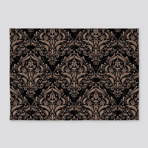DAMASK1 BLACK MARBLE & BROWN COLORE 5'x7'Area Rug