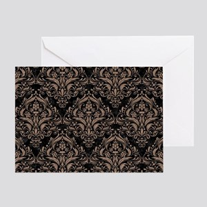 DAMASK1 BLACK MARBLE & BROWN COLORED Greeting Card