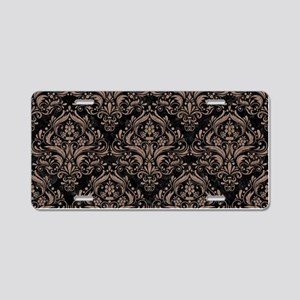 DAMASK1 BLACK MARBLE & BROW Aluminum License Plate