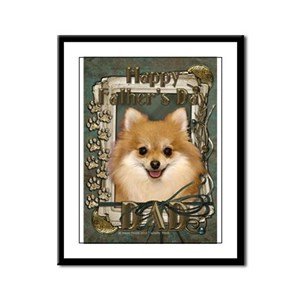 Fathers Day Stone Paws Pom Framed Panel Print