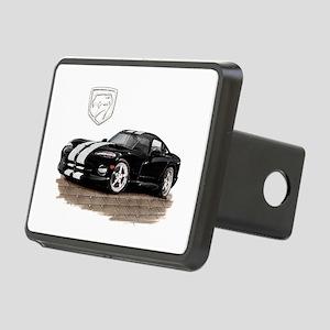 Viper Black/White Car Rectangular Hitch Cover