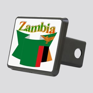Flag ribbon Zambia Rectangular Hitch Cover