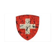 Swiss Coat of Arms Distressed 38.5 x 24.5 Wall Pee