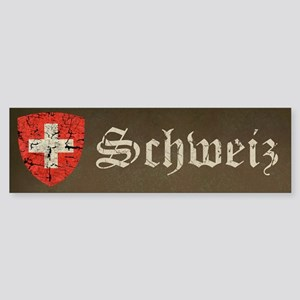 Swiss Coat of Arms Distressed Sticker (Bumper)