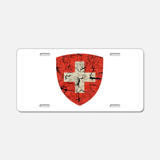 Swiss Coat of Arms Distressed Aluminum License Pla
