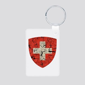Swiss Coat of Arms Distressed Aluminum Photo Keych