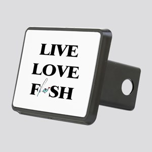Live, Love, Fish Rectangular Hitch Cover