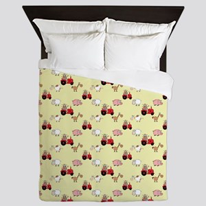 Cute Farm Animals Queen Duvet