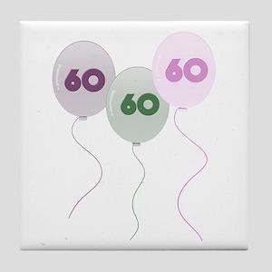 60th Birthday Balloons Tile Coaster