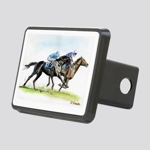 Horse race watercolor Rectangular Hitch Coverle)