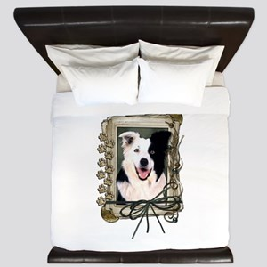 Fathers Day Stone Paws Border Collie King Duvet