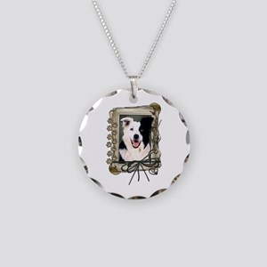 Fathers Day Stone Paws Border Collie Necklace Circ
