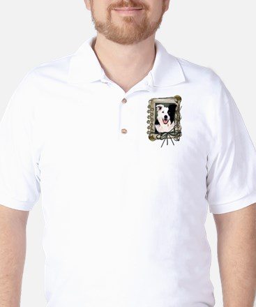 Fathers Day Stone Paws Border Collie Golf Shirt