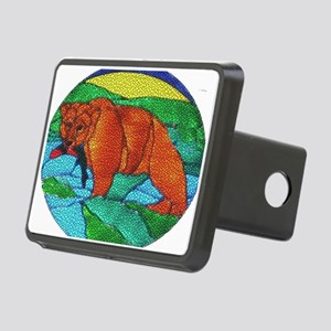BEAR CATCHING FISH-TILED Rectangular Hitch Cover